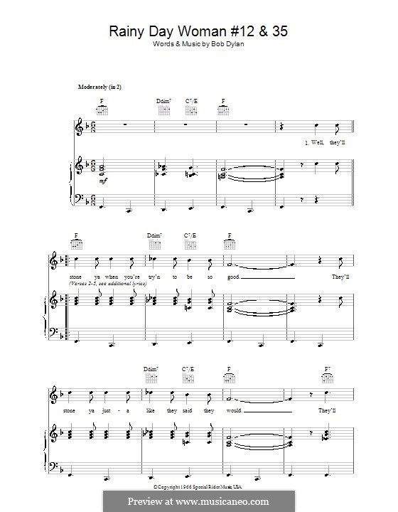 Rainy Day Woman No.12 & 35: Für Stimme und Klavier (oder Gitarre) by Bob Dylan