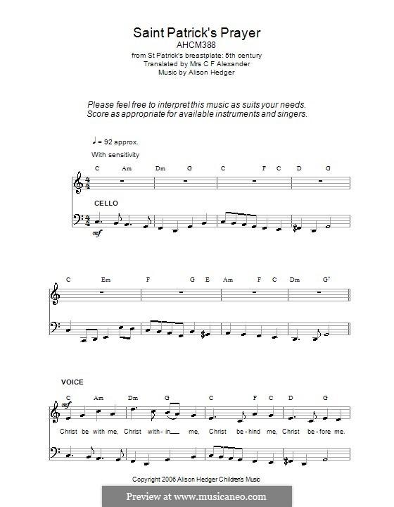 Saint Patrick's Prayer: Für Stimme und Klavier (oder Gitarre) by folklore