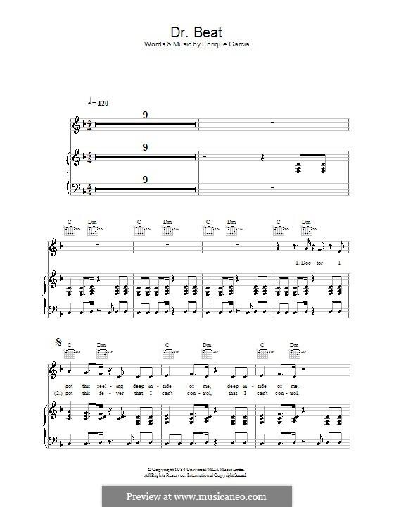 Dr. Beat (Miami Sound Machine): Für Stimme und Klavier (oder Gitarre) by Enrique Garcia