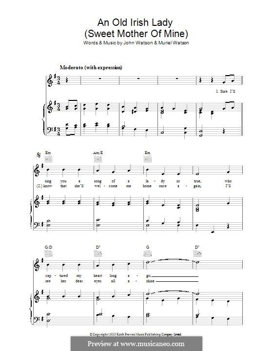 An Old Irish Lady (Sweet Mother of Mine): Für Stimme und Klavier (oder Gitarre) by Muriel Watson