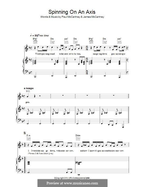 Spinning on an Axis: Für Stimme und Klavier (oder Gitarre) by James McCartney, Paul McCartney