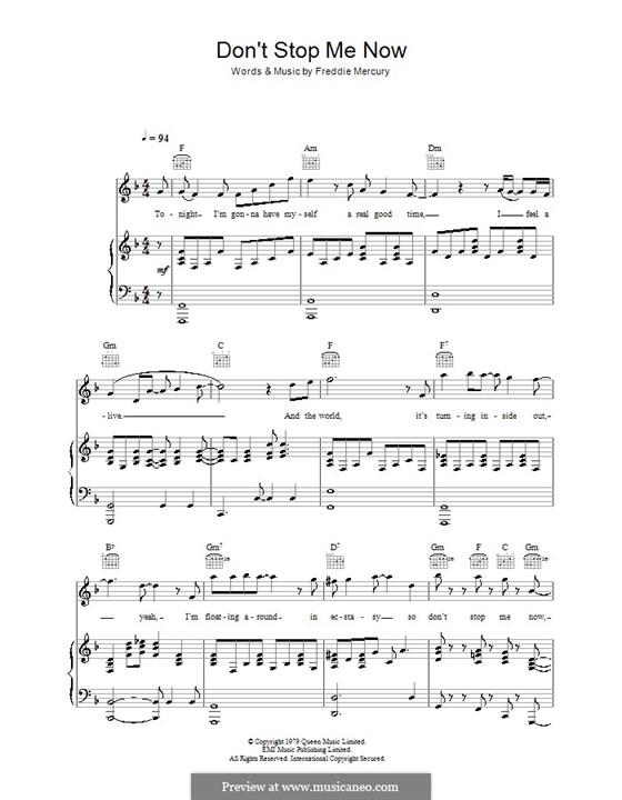 Don't Stop Me Now (Queen): Für Stimme und Klavier (oder Gitarre) by Freddie Mercury