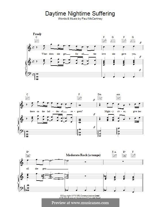 Daytime Nightime Suffering: Für Stimme und Klavier (oder Gitarre) by Paul McCartney