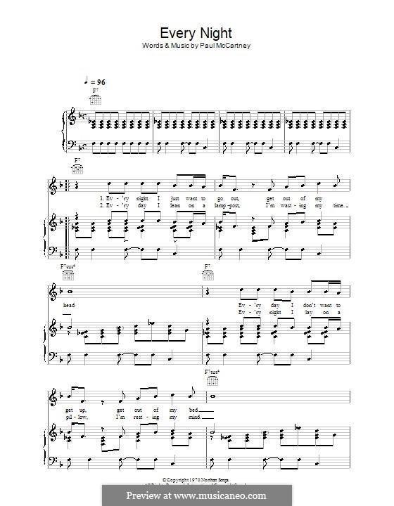 Every Night: Für Stimme und Klavier (oder Gitarre) by Paul McCartney