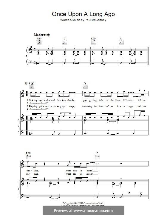 Once Upon a Long Ago...: Für Stimme und Klavier (oder Gitarre) by Paul McCartney