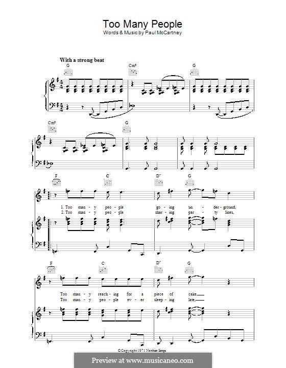 Too Many People: Für Stimme und Klavier (oder Gitarre) by Paul McCartney
