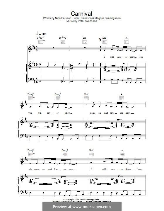 Carnival (The Cardigans): Für Stimme und Klavier (oder Gitarre) by Peter Svensson