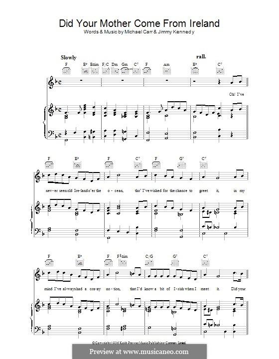 Did Your Mother Come from Ireland: Für Stimme und Klavier (oder Gitarre) by Jimmy Kennedy, Michael Carr