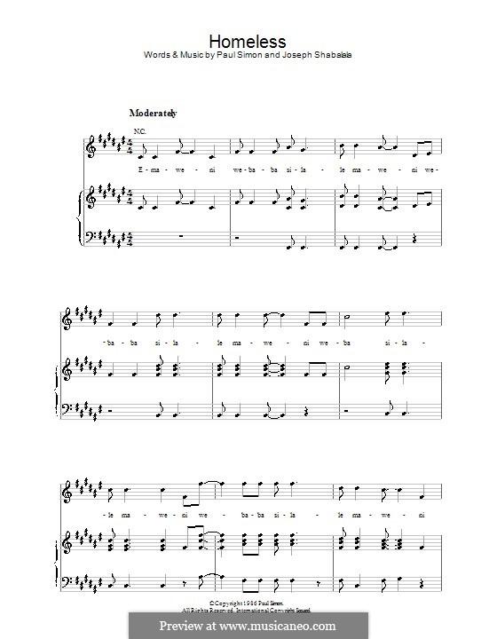 Homeless: Für Stimme und Klavier (oder Gitarre) by Joseph Shabalala