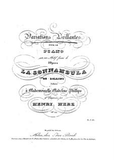 Variationen Brillante über Themen aus 'La Sonnambula' von Bellini, Op.105: Für Klavier by Henri Herz