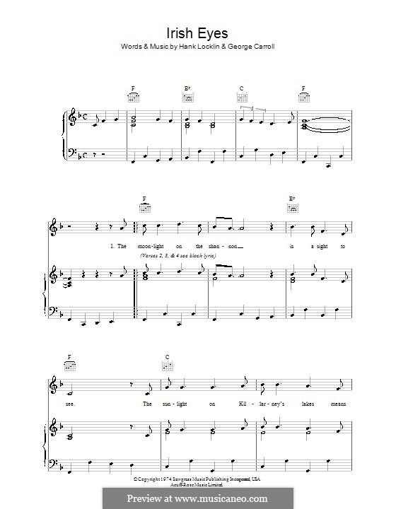 Irish Eyes: Für Stimme und Klavier (oder Gitarre) by George Carroll, Hank Locklin
