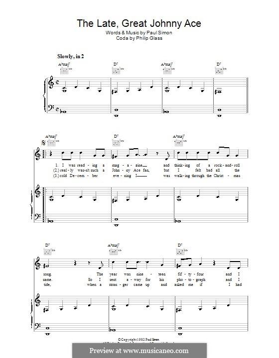 The Late Great Johnny Ace: Für Stimme und Klavier (oder Gitarre) by Paul Simon