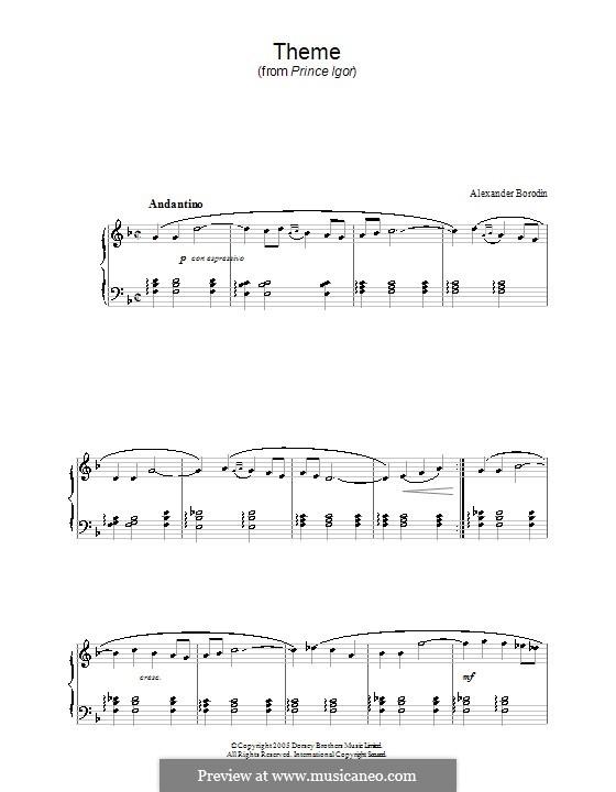 Die Polowetzer Tänze: Für Klavier (Thema) by Alexander Porfiryevich Borodin