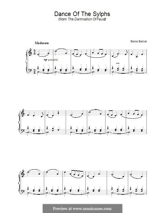 Fausts Verdammung, H.111 Op.24: Tanz der Sylphen, für Klavier by Hector Berlioz