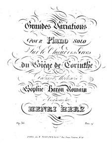 Grosse Variationen über Thema aus 'Le siège de Corinthe' von Rossini, Op.36: Grosse Variationen über Thema aus 'Le siège de Corinthe' von Rossini by Henri Herz