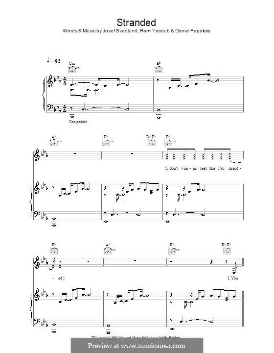 Stranded (Lutricia McNeal): Für Stimme und Klavier (oder Gitarre) by Daniel Papalexis, Josef Svedlund, Rami Yacoub