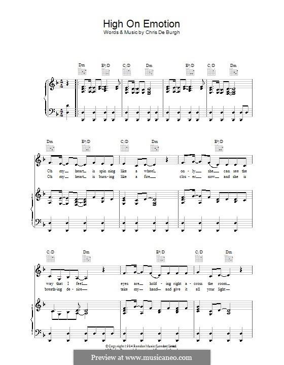 High on Emotion: Für Stimme und Klavier (oder Gitarre) by Chris de Burgh