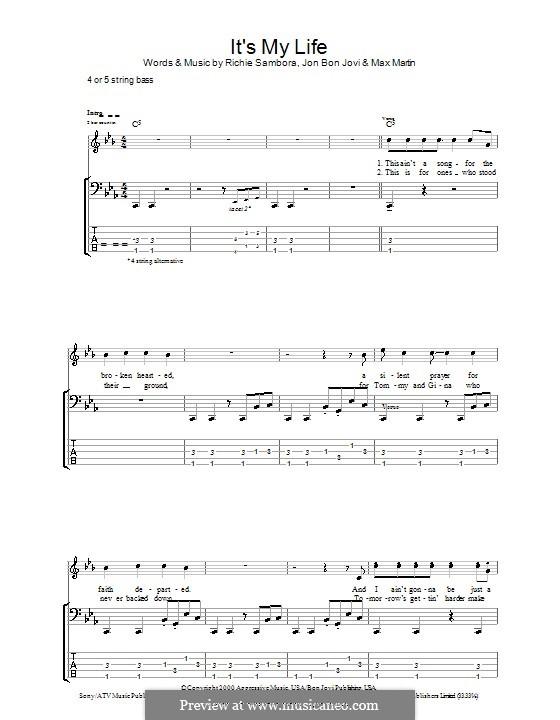 It's My Life (Bon Jovi): Für Bassgitarre mit Tabulatur by Jon Bon Jovi, Max Martin, Richie Sambora