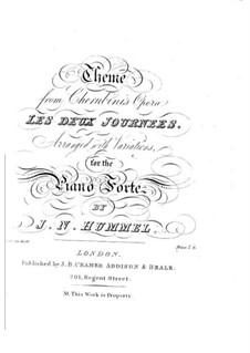 Variationen über Thema aus 'Les deux journées' von Cherubini: Variationen über Thema aus 'Les deux journées' von Cherubini by Johann Nepomuk Hummel