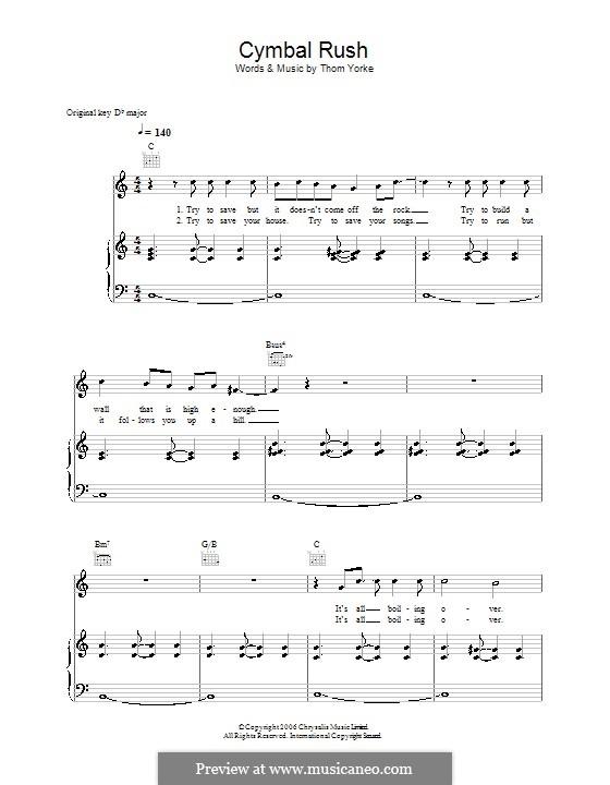 Cymbal Rush: Für Stimme und Klavier (oder Gitarre) by Thomas Yorke