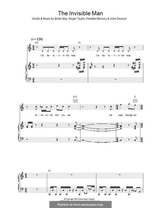 The Invisible Man (Queen): Für Stimme und Klavier (oder Gitarre) by Brian May, Freddie Mercury, John Deacon, Roger Taylor