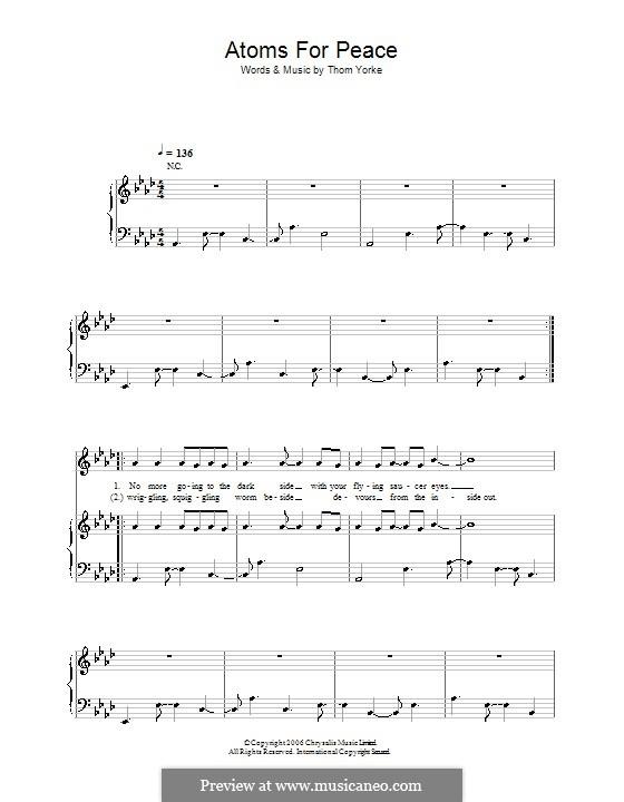 Atoms for Peace: Für Stimme und Klavier (oder Gitarre) by Thomas Yorke