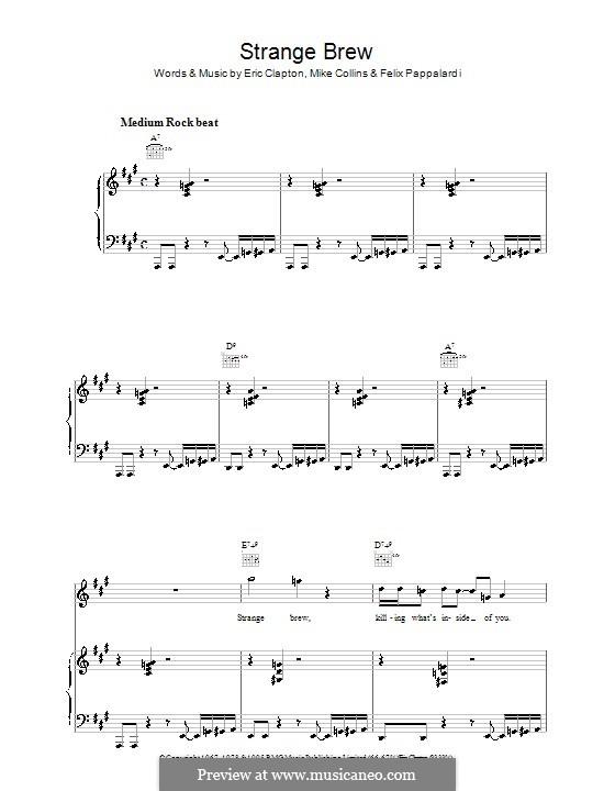 Strange Brew (Cream): Für Stimme und Klavier (oder Gitarre) by Eric Clapton, Felix Pappalardi, Gail Collins