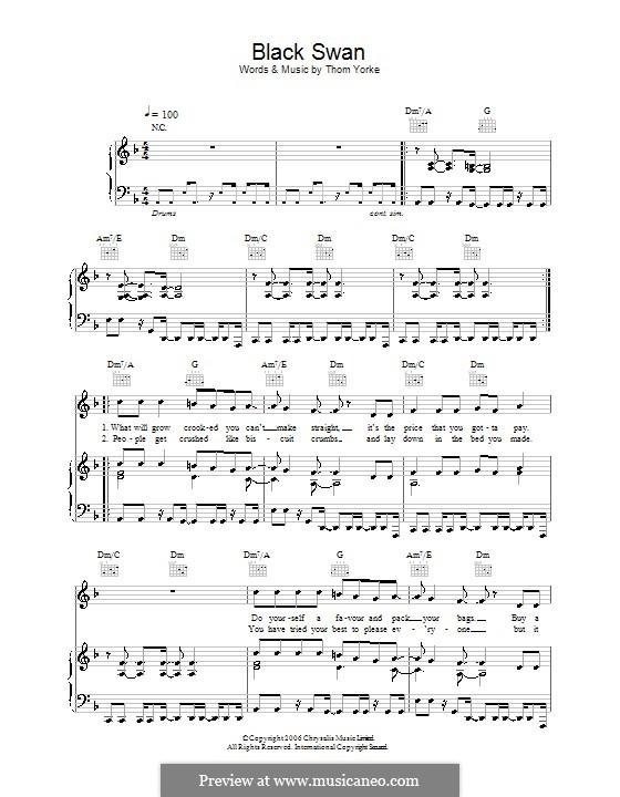 Black Swan: Für Stimme und Klavier (oder Gitarre) by Thomas Yorke