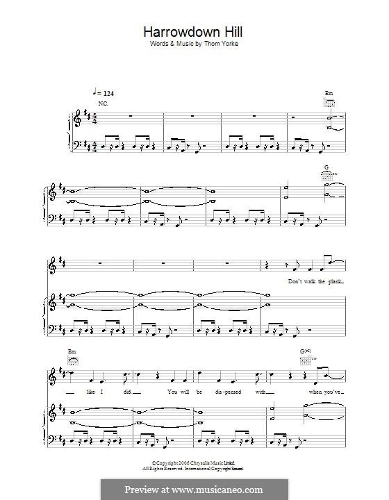 Harrowdown Hill: Für Stimme und Klavier (oder Gitarre) by Thomas Yorke