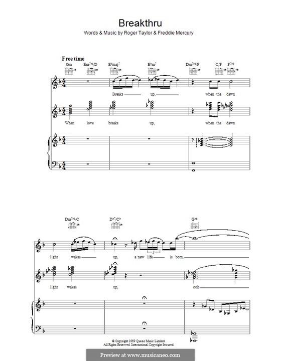 Breakthru (Queen): Für Stimme und Klavier (oder Gitarre) by Brian May, Freddie Mercury, John Deacon, Roger Taylor