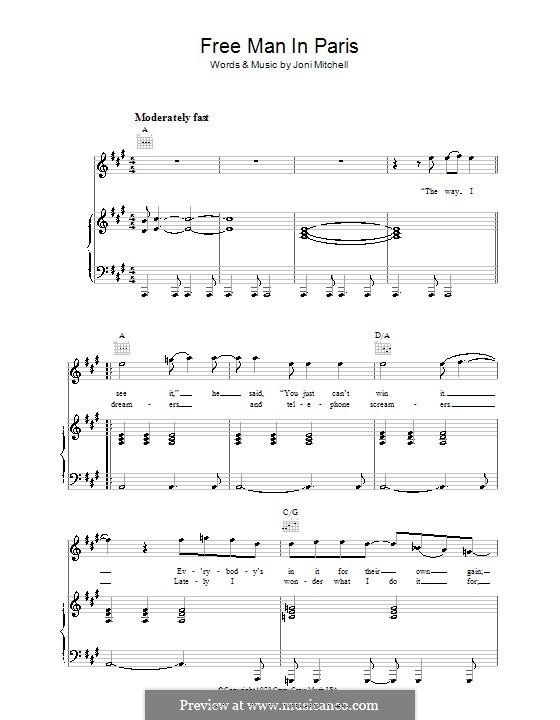 Free Man in Paris: Für Stimme und Klavier (oder Gitarre) by Joni Mitchell