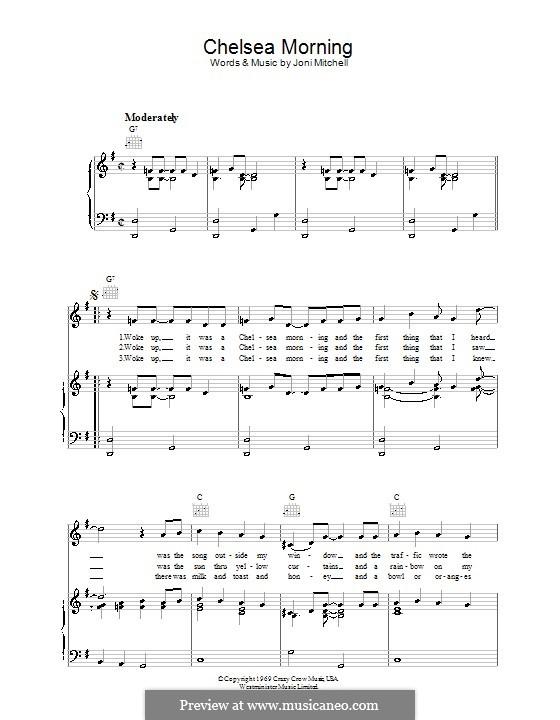 Chelsea Morning: Für Stimme und Klavier (oder Gitarre) by Joni Mitchell