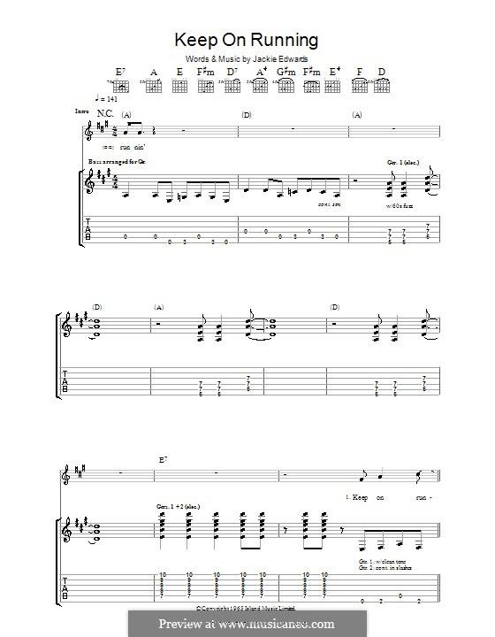 Keep on Running (The Spencer Davis Group): Für Gitarre mit Tabulatur by Jack Edwards