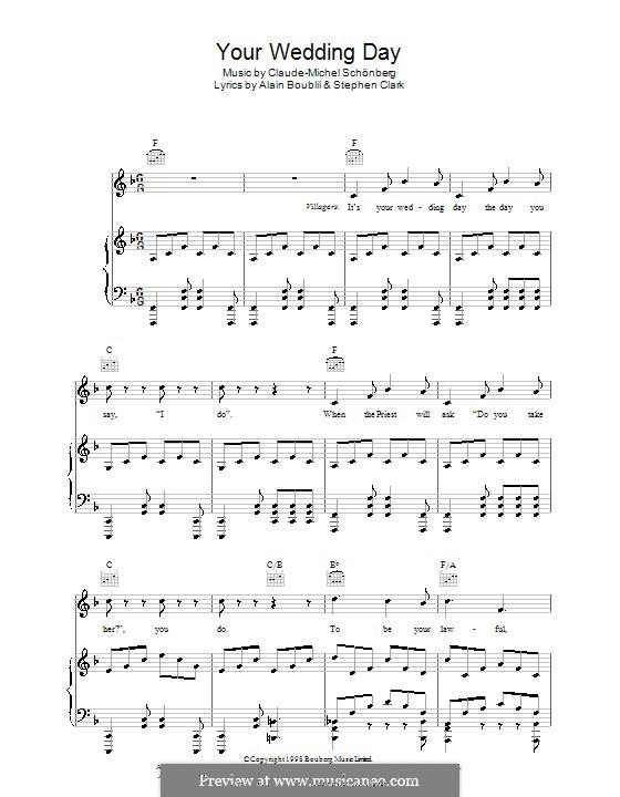 Your Wedding Day: Für Stimme und Klavier (oder Gitarre) by Claude-Michel Schönberg