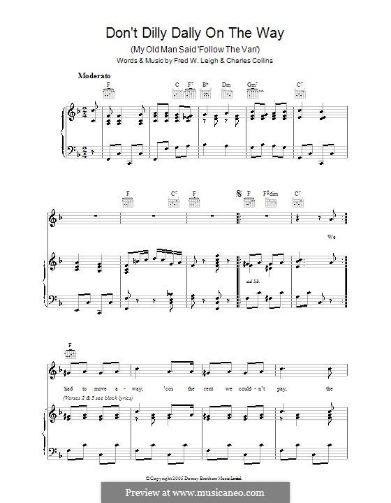 Don't Dilly Dally on the Way: Für Stimme und Klavier (oder Gitarre) by Charles Collins, Fred W. Leigh