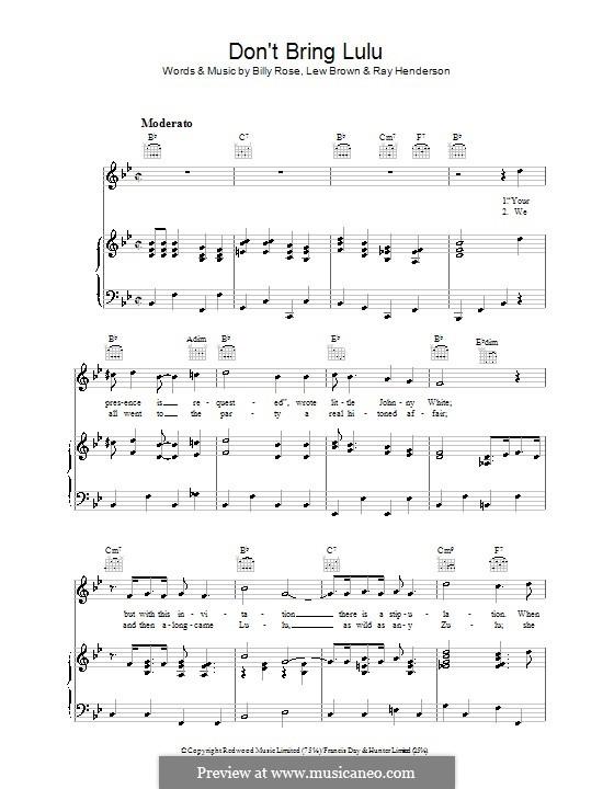Don't Bring Lulu: Für Stimme und Klavier (oder Gitarre) by Lew Brown