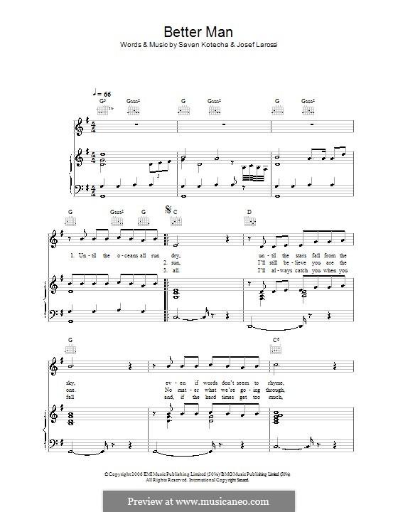 A Better Man (Shayne Ward): Für Stimme und Klavier (oder Gitarre) by Josef Larossi, Savan Kotecha