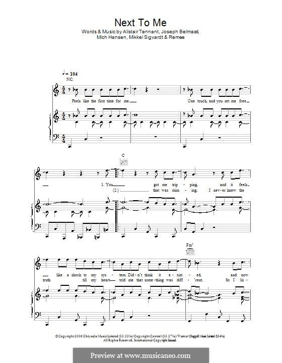 Next To Me (Shayne Ward): Für Stimme und Klavier (oder Gitarre) by Alistair Tennant, Joseph Belmaati, Mich Hansen, Mikkel Sigvardt