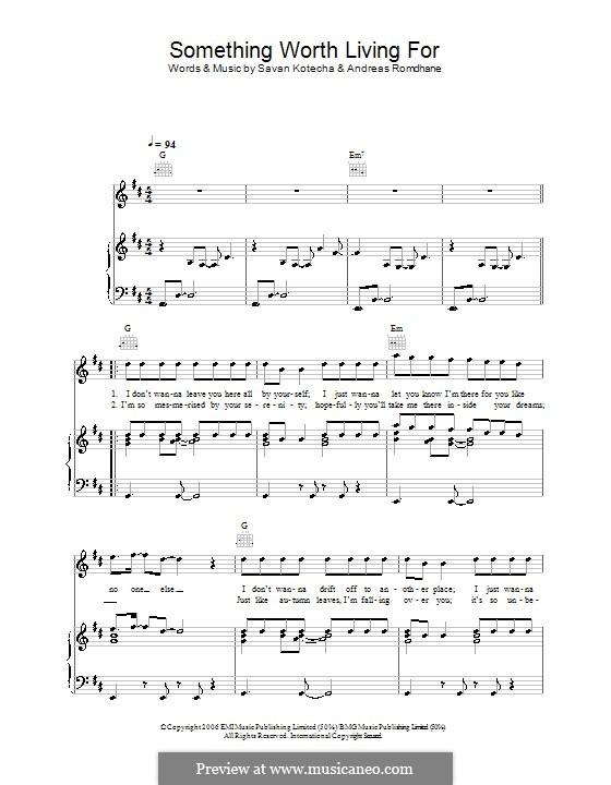 Something Worth Living for (Shayne Ward): Für Stimme und Klavier (oder Gitarre) by Andreas 'Quiz' Romdhane, Savan Kotecha