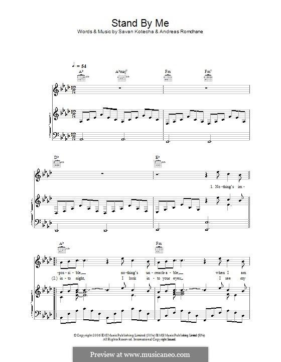 Stand By Me (Shayne Ward): Für Stimme und Klavier (oder Gitarre) by Andreas 'Quiz' Romdhane, Savan Kotecha