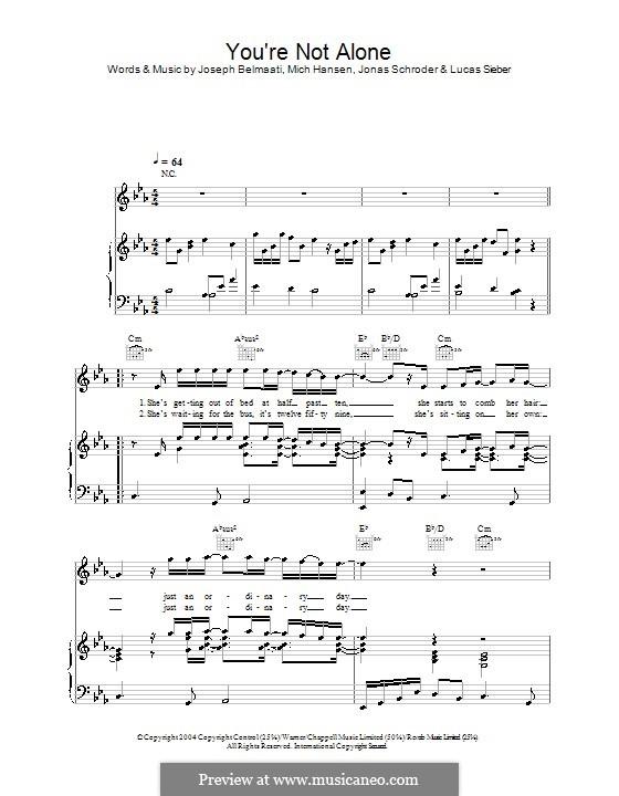 You're Not Alone (Shayne Ward): Für Stimme und Klavier (oder Gitarre) by Jonas Schroder, Joseph Belmaati, Lucas Sieber, Mich Hansen