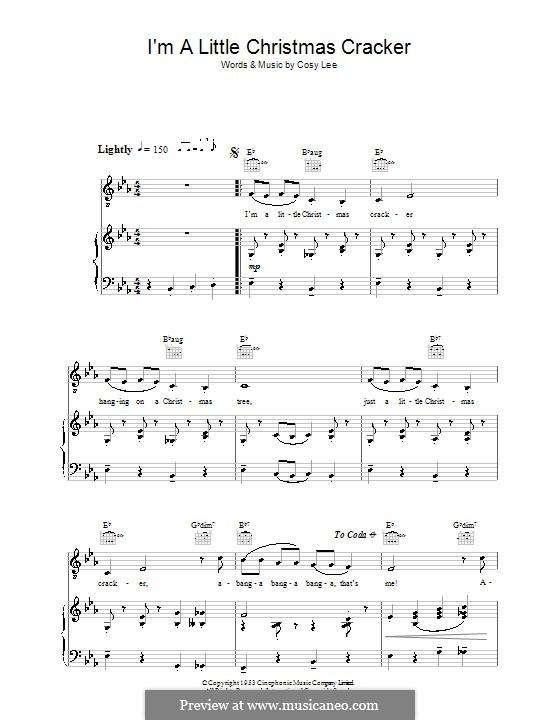 I'm a Little Christmas Cracker (Diana Decker): Für Stimme und Klavier (oder Gitarre) by Cosy Lee