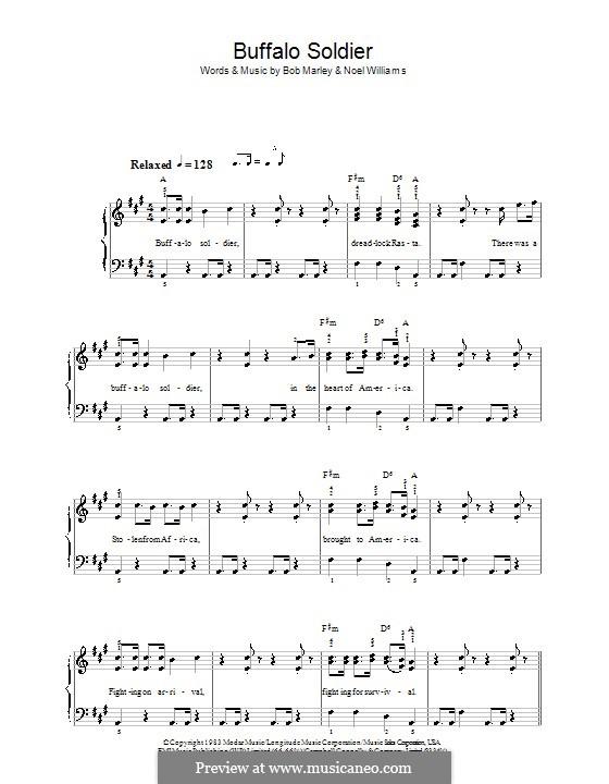 Buffalo Soldier (Bob Marley): Einfache Noten für Klavier by Noel Williams
