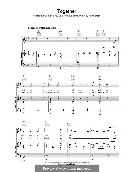 Together: Für Stimme und Klavier (oder Gitarre) by Buddy Gard DeSylva, Ray Henderson, Lew Brown