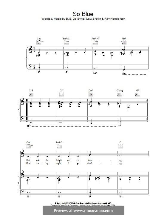 So Blue (Lew Brown): Für Stimme und Klavier (oder Gitarre) by Ray Henderson, Helen Crawford
