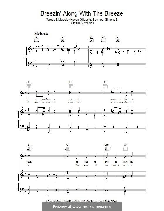 Breezin' Along with the Breeze: Für Stimme und Klavier (oder Gitarre) by Haven Gillespie, Richard A. Whiting, Seymour Simons