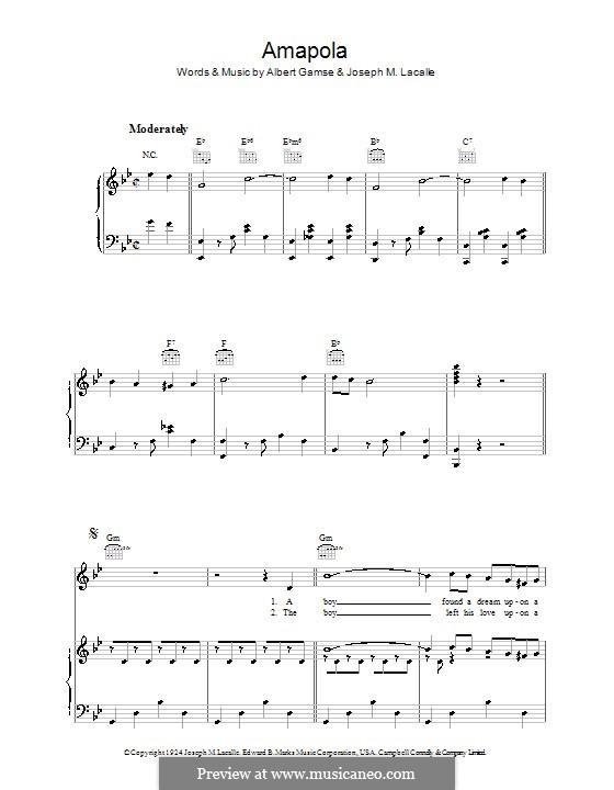 Amapola: Für Stimme und Klavier (oder Gitarre) by Joseph M. Lacalle