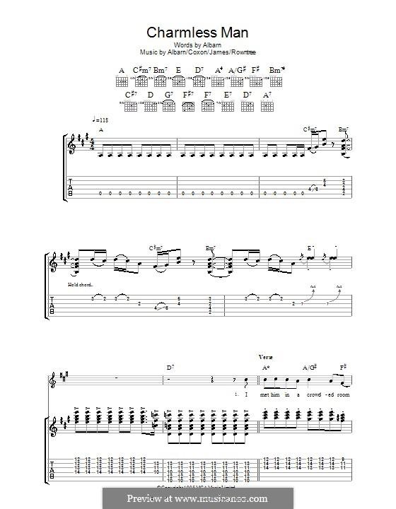 Charmless Man (Blur): Für Gitarre mit Tab by Alex James, Damon Albarn, David Rowntree, Graham Coxon