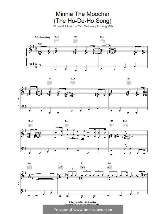 Minnie the Moocher: Für Stimme und Klavier (oder Gitarre) by Irving Mills, Cab Calloway