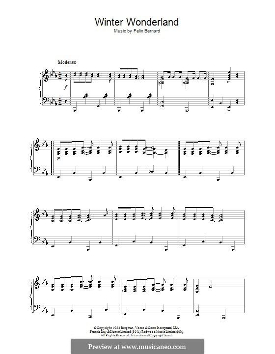 Winter Wonderland, for Piano: For a single performer (Johnny Mathis) by Felix Bernard